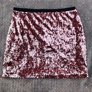 TOPSHOP Pink Sequin Mini Skirt